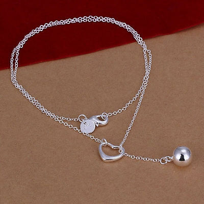 Charm Silver Plated Bead Heart Hot Pendant Gift Jewelry Necklace Women Chain r