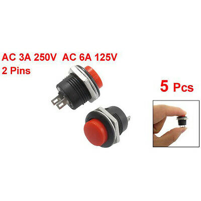 Xmas 5 X Momentary SPST NO Red Round p Push Button Switch AC 6A/125V 3A/250V