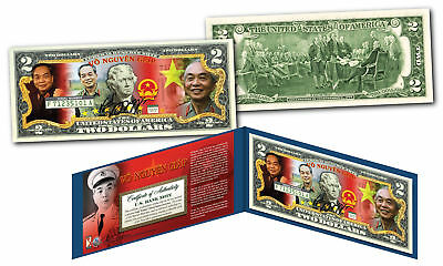 VO NGUYEN GIAP * Vietnam Icon & General * OFFICIAL Colorized Genuine US $2 Bill