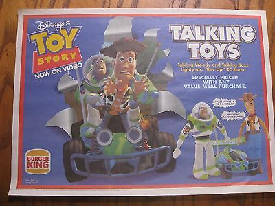 Burger King Placemat Trayliner - Toy Story on Video - 1996