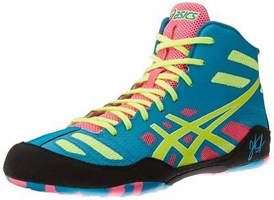 Asics JB Elite, Wrestling/MMA Shoes, Item# J3A1Y, Adult Sizes, Teal/Yellow/Pink