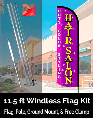 Hair Salon (Haircuts, Perms, Color) Windless Polyknit Feather Flag (3 x 11.5 ft)