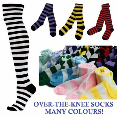 OVER THE KNEE SOCKS Striped Stripe Costume Long Stockings Black White Red Blue