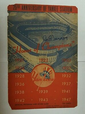 1947 NY YANKEES program autographed signed by JOE DIMAGGIO BOBBY BROWN ED LOPAT