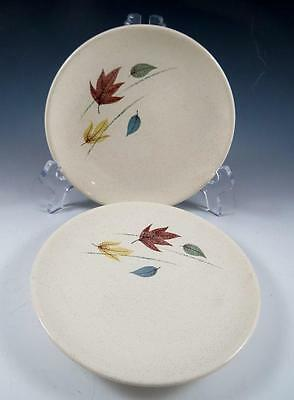 """Pair (2) Franciscan """"autumn"""" Bread & Butter Plates - Mid Century - Leaves - Euc"""