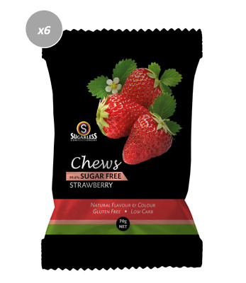 901890 4 x 70g BAGS OF CHEWS STRAWBERRY: GLUTEN FREE, 99.6% SUGAR FREE, LOW CARB
