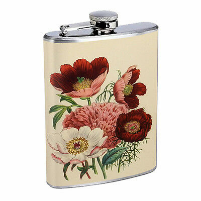 Vintage Flowers Hip Flask D8 8oz Stainless Steel Old Fashioned Retro