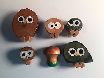 Set of 6 Vintage Handmade Wood Slice Owl Magnets