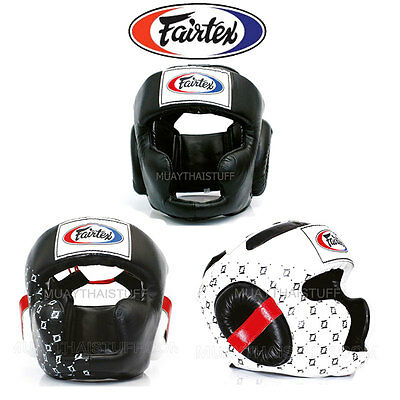 Fairtex Head Guard MuayThai Boxing White HG3 HG10 MMA Headgear Training Sparring