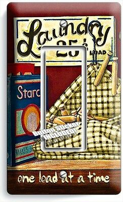 Retro Vintage Laundry Room Bathroom Single Gfi Light Switch Wall Plate Art Decor
