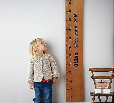 Wooden Height Ruler Growth Chart measurement Personalised Family home baby Wall