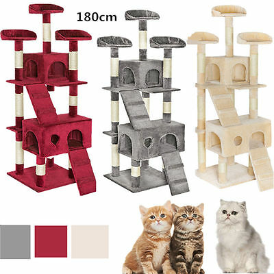 180cm Cat Tree Activity Centre Scratcher Scratching Post Sisal Toys Bed #BM