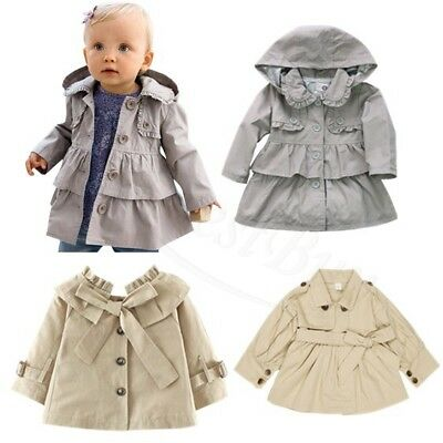 Baby Girls Hoodie Outerwear Wind Coat Hooded Ruffle Jacket Child Clothes SZ 6M-5