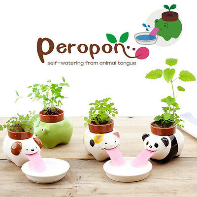 Ceramic Cultivation Peropon Drinking Animal Tougue Self Watering Planter XW