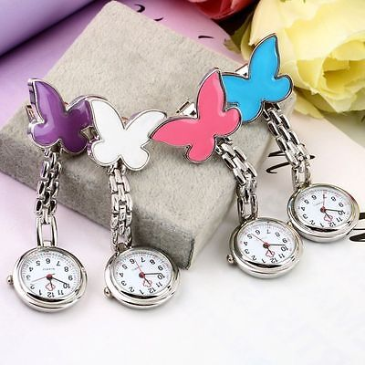 New Butterfly Silicone Round Pocket Nurse Medical Watch Fob With Silver Chain Uk
