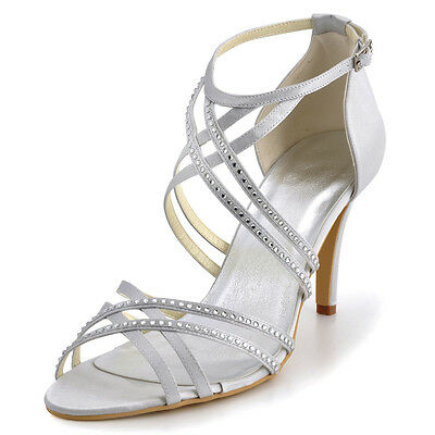 EP11062 Women Rhinestone Sandals High Heels Platform Satin Bridal Party Shoes
