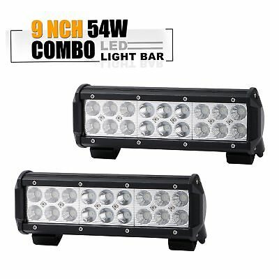 54W 9inch 2PCS Combo Led Light Bar Grill Off road Bumper ATV Truck Ford Boat SUV