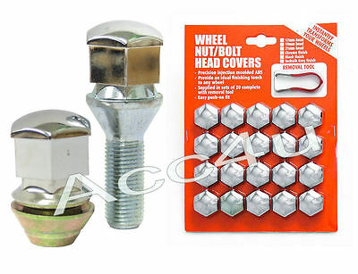 19mm Hex Chrome Finish Car Alloy Wheels Wheel Nut / Bolt Head 20 Caps Covers Set