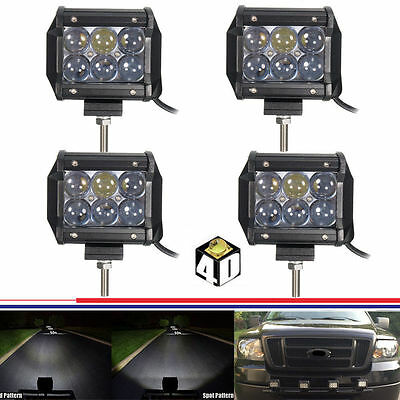 4x 18W 4inch 4D Led Work Light Spot Pods Jeep Golf Cart Pickup Bumper Boat Grill