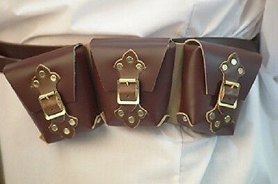 Leather Wear-Reenactment-Gaming-Brown Leather STEAMPUNK POUCH TRIPPLE One Size