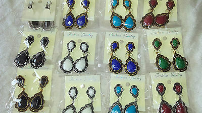 Joblot 16 pairs Metal antique style clip on dangly Earrings - New Wholesale