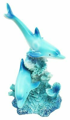 Dolphin Couple Swimming Tropical Coral Reef Figurine Beach Ocean Marine Statue