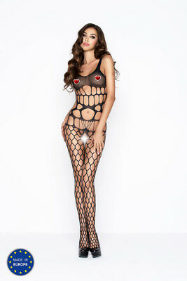 Bodystocking donna nero rete larga  - Passion