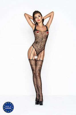 Bodystocking donna nero a body lavorato - Passion