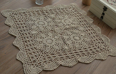 "23"" Square Ecru Crochet Lace Doily Floral Table Cloth Topper Runner"