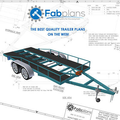 2500kg Car Trailer Plans - 14'x6' DIY car trailer plans with car ramps! A3+CDROM