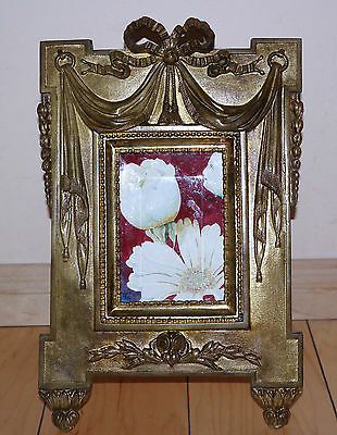 French Gilt Bronze Neo-Classical style Picture Frame Original Glass Circa 1880s