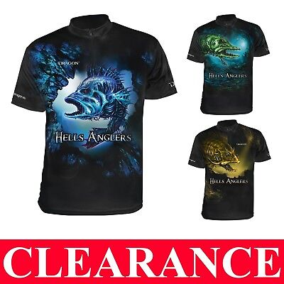 DRAGON T-SHIRT HELLS ANGLERS BREATHABLE ClimaDRY PIKE PERCH ZANDER UK LURES