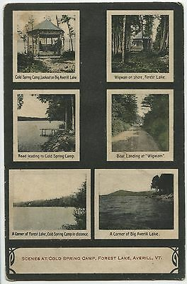 Old Postcard 1911 Scenes at Cold Spring Camp Forest Lake Averill Vermont
