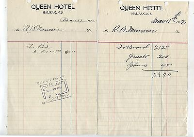 2 Old 1922 Letterheads Letter Heads Queen Hotel Halifax Nova Scotia