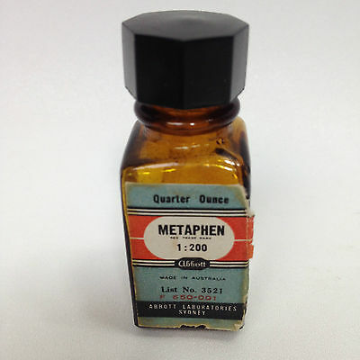 Vintage METAPHEN Chemist Medical Apothecary Bottle
