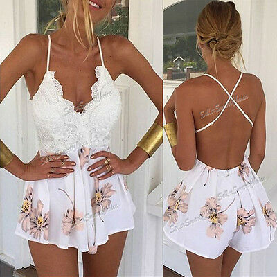 Womens Ladies Holiday Mini Playsuit V Neck Party Jumpsuit Summer Beach Dress