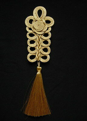 MR170 Gold Rose Loopy Corded Braided Tassels Motif/Jewelry/Decoration/Sewing