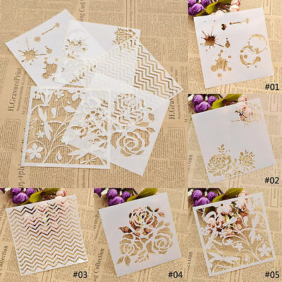 Flower Wave Dragonfly Pattern Layering Stencils Template for DIY Painting Tool