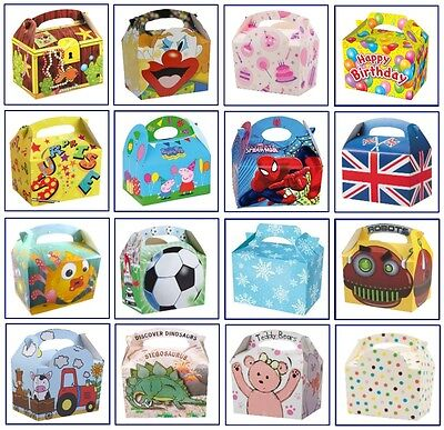 20 x Childrens Kids Themed Carry Food Meal Box Birthday Party Loot Bag Boxes