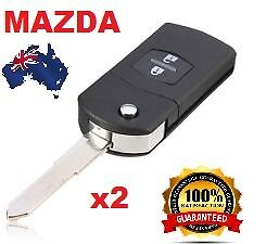 2 x Mazda 2 Button Remote Flip Key Shell to Suit Mazda 2 3 5 6 RX7 RX8 BT50