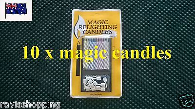 10 x Magic Re-Lighting Candles, Funny Prank Trick Cool Coloured Novelty Birthday