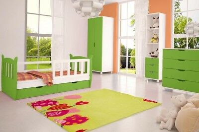 Childrens Bedroom Furniture Set COLOURS GREEN Wardrobe Chest Bookcase Single Bed
