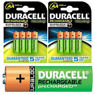 2 x 4 = 8 AA DURACELL 2500 MAH PREMIUM PRE/STAY CHARGED RECHARGEABLE BATTERIES