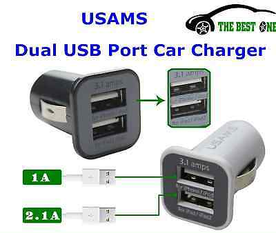 Premium Universal Car Charger USAMS Dual USB 3.1A for iPhone iPad Samsung Sony