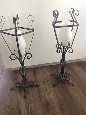 Set of 2 Wrought Iron Candle Holders Free Standing 22""