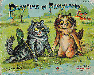 Louis Wain Funny Grumpy Cat Fight Cartoon Hoffman Painting Real Canvas Art Print