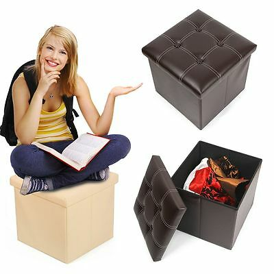 Large Faux Leather Suede Ottoman Folding Storage Pouffe Toy Box Foot Stool Seat