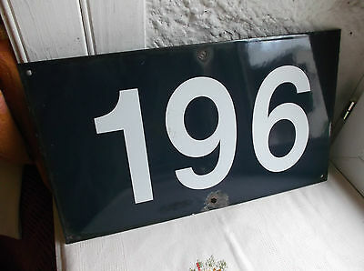 "French porcelain enamel blue and white authentic street sign number ""196"""