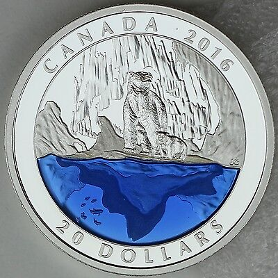 2016 $20 Masters Club Coin #3 – 99.99% Pure Silver Polar Bear with Blue Enamel