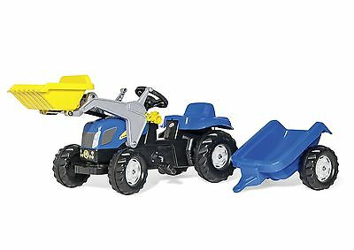 Rolly Kid New Holland T7040 Tractor Frontloader And Trailer Ride On Toy New